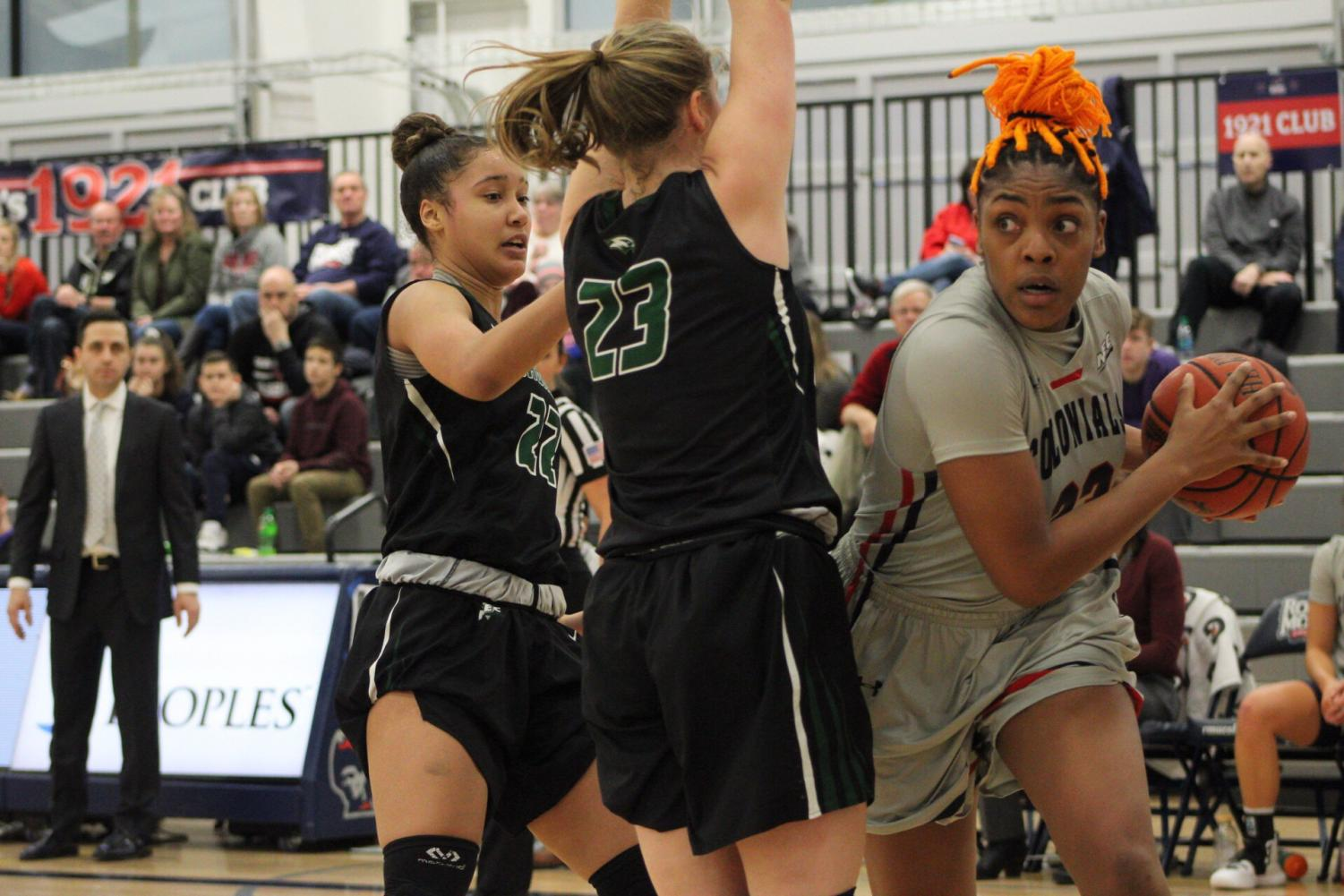 MOON TOWNSHIP -- Nneka Ezeigbo looks to drive to the hoop against Wagner on January 26, 2019 (Michael Sciulli/RMU Sentry Media). Eziegbo had a career night as she finished with a double-double of 13 points and 17 rebounds. Photo credit: Samuel Anthony