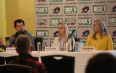 MOON TOWNSHIP -- Panelists (from left): Tyler Kennedy, Jessica Gazzola, Ashley McCombs answer questions regarding mental health on January 25, 2019 (Tyler Gallo/RMU Sentry Media).