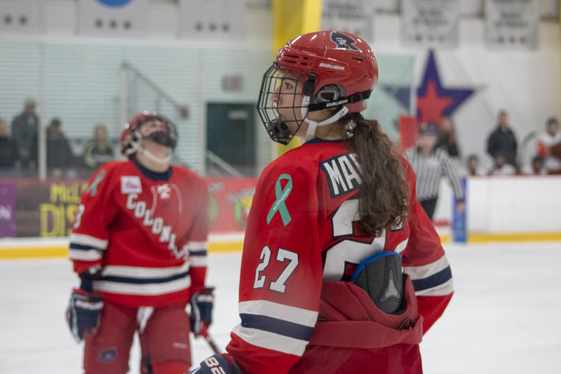 Natalie Marcuzzi looks on after a penalty against Robert Morris. Neville Island, PA Friday Jan. 25, 2019. (RMU Sentry Media/Samuel Anthony)