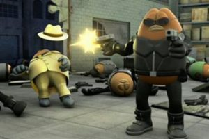 Vagan (right) shooting Cappuccino (left) after revealing his identity to Killer Bean.