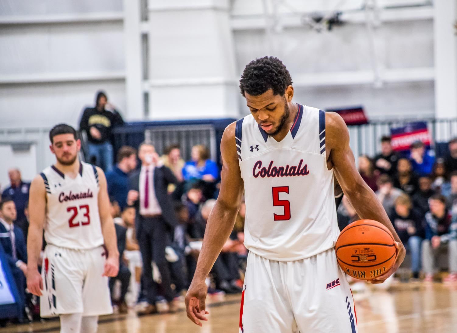 MOON TOWNSHIP -- Malik Petteway takes a foul shot as Matty McConnell watches on Feb. 7, 2019 (David Auth/RMU Sentry Media). Both Malik Petteway and Matty McConnell are players to watch for this weekend.