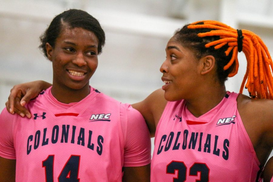 Irekpitan Ozzy- Momodu and Nneka Ezeigbo share a laugh after the Colonials victory over LIU Brooklyn. Moon, PA Feb. 25, 2019. (RMU Sentry Media/Michael Sciulli)