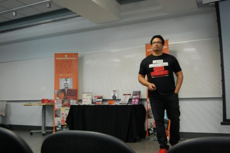 Pro-life speaker Ryan Bomberger spoke to an audience in Hopwood Hall at Robert Morris University.