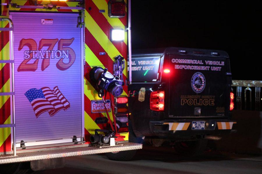 A five car accident closes McKees Rocks Bridge late on Feb. 15, 2019.