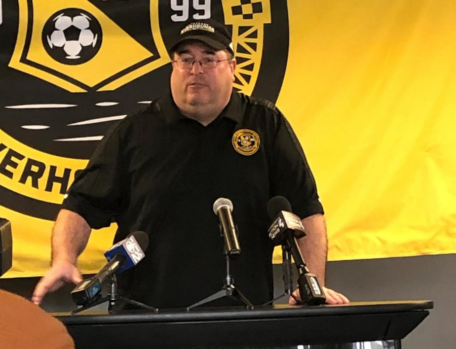 PITTSBURGH -- Riverhounds' manager Bob Lilley speaks at the 20th anniversary press conference (Jon Hanna/RMU Sentry Media).