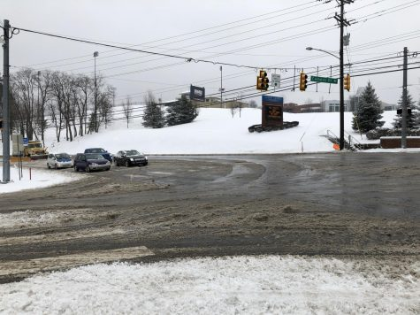 Snow, slush and wet roads were the story of the day in Moon Township and across much of the Pittsburgh region. Photo Credit: (RMU Sentry Media/Gage Goulding)