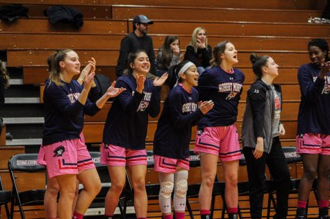 The bench celebrates after a Nina Augustin three-pointer. Loretto, PA Feb. 18, 2019. (RMU Sentry Media/Samuel Anthony)