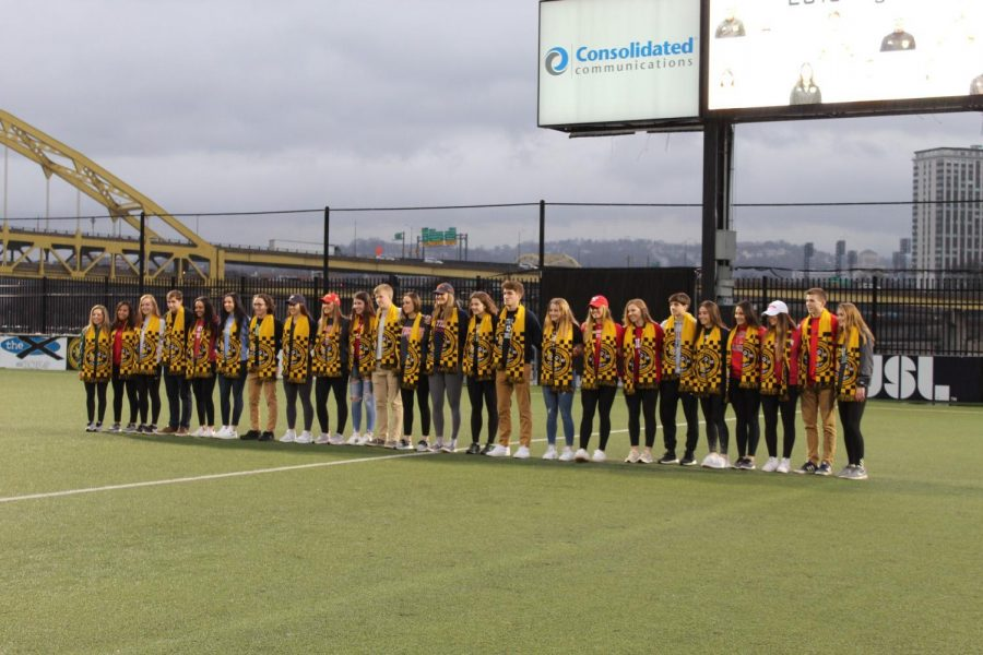 PITTSBURGH+--+The+Riverhounds+Development+Academy+signees+pose+in+Highmark+Stadium+%28Sarah+Gabany%2FRMU+Sentry+Media%29.+The+academy+saw+26+players+sign+to+colleges+this+year.+Photo+credit%3A+Sarah+Gabany