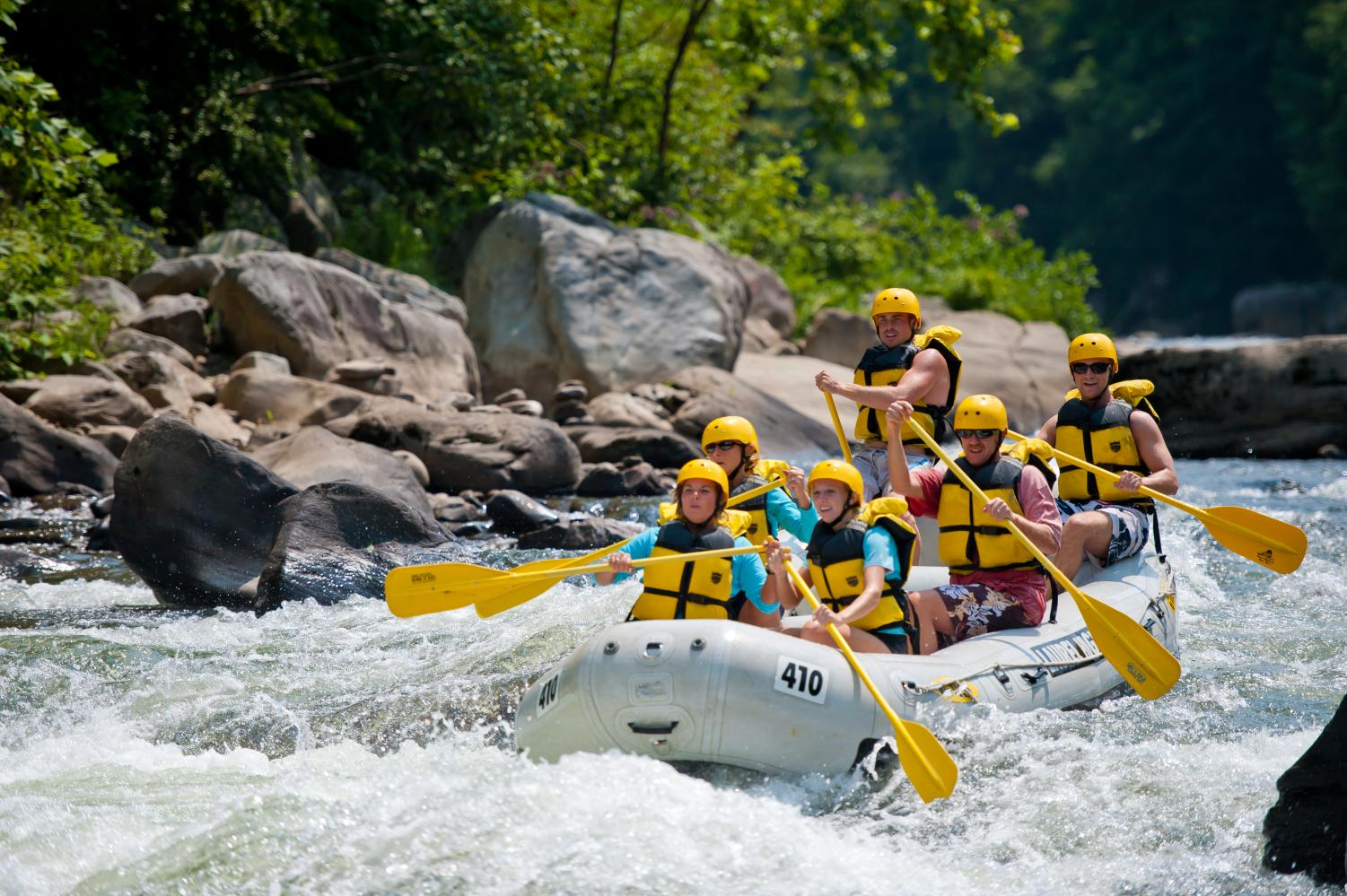 Whitewater rafting on the Youhgiogheny River at Ohiopyle State Park in Pennsylvania's Laurel Highlands. Photo Credit: (Laurel Highlands Visitors Bureau)