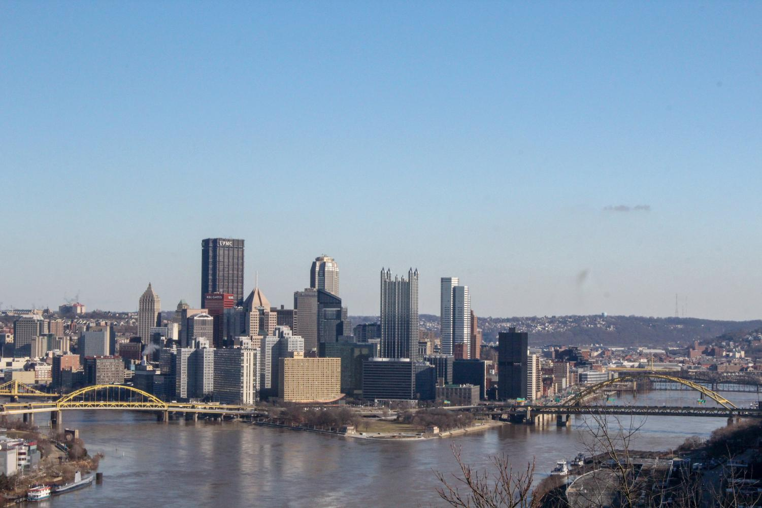 Downtown Pittsburgh as seen from West End Park on a February afternoon.