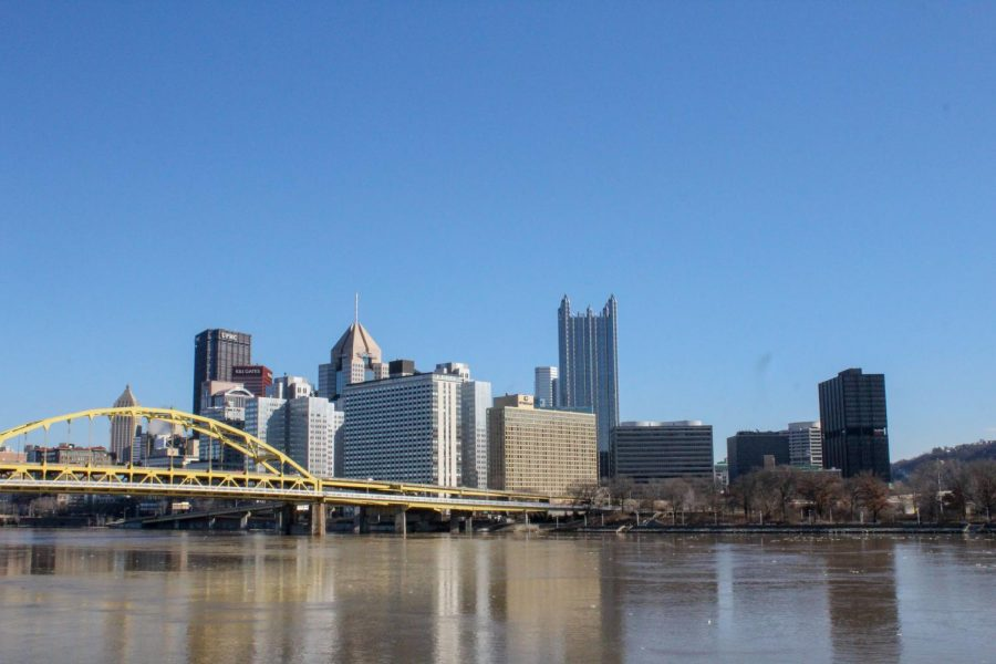 Downtown Pittsburgh skyline as seen from the North Shore. The North Shore Riverwalk is flooded from heavy rainfall in early Feb. 2019.