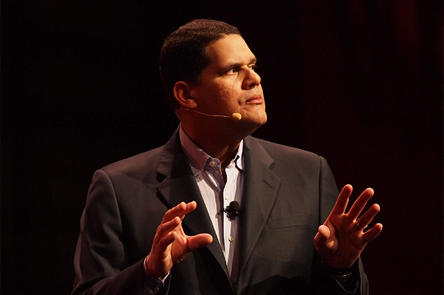 Reggie Fils-Aimé on stage at GDC 2011.