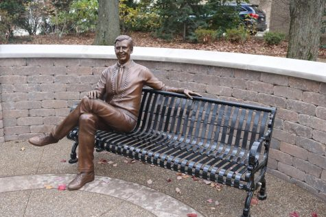 A statue of Mister Roger in honor of Mister Rogers' Neighborhood's 50th Anniversary at Saint Vincent College in Latrobe. Photo Credit: (Saint Vincent College)