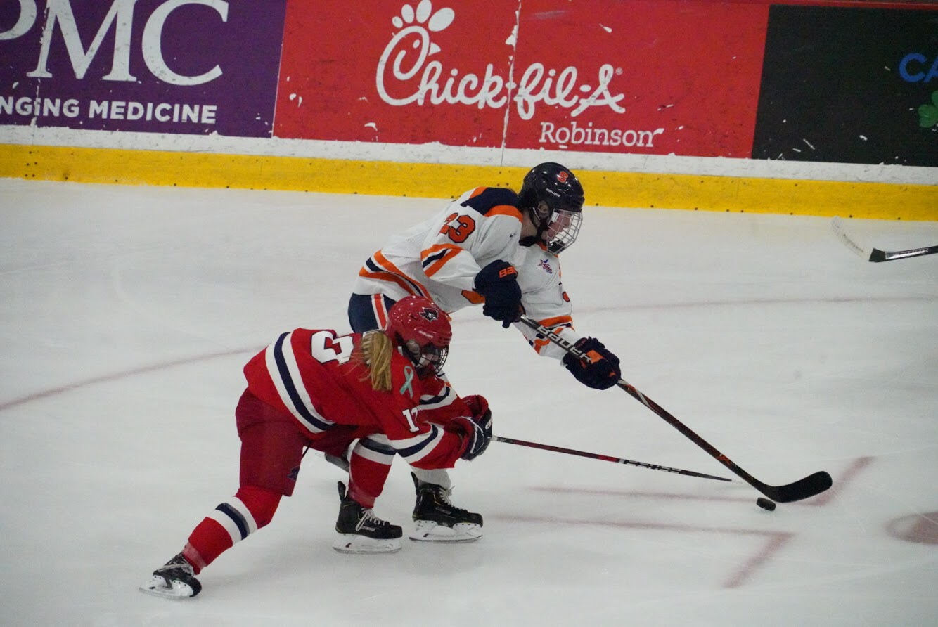 Robert Morris battled through the first period. But a four-goal second period propelled the Orange to the CHA tournament title. Photo credit: Timothy Kelly