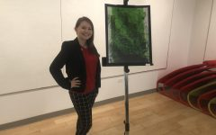 MOON TOWNSHIP — Student Ali Cannon next her artwork,