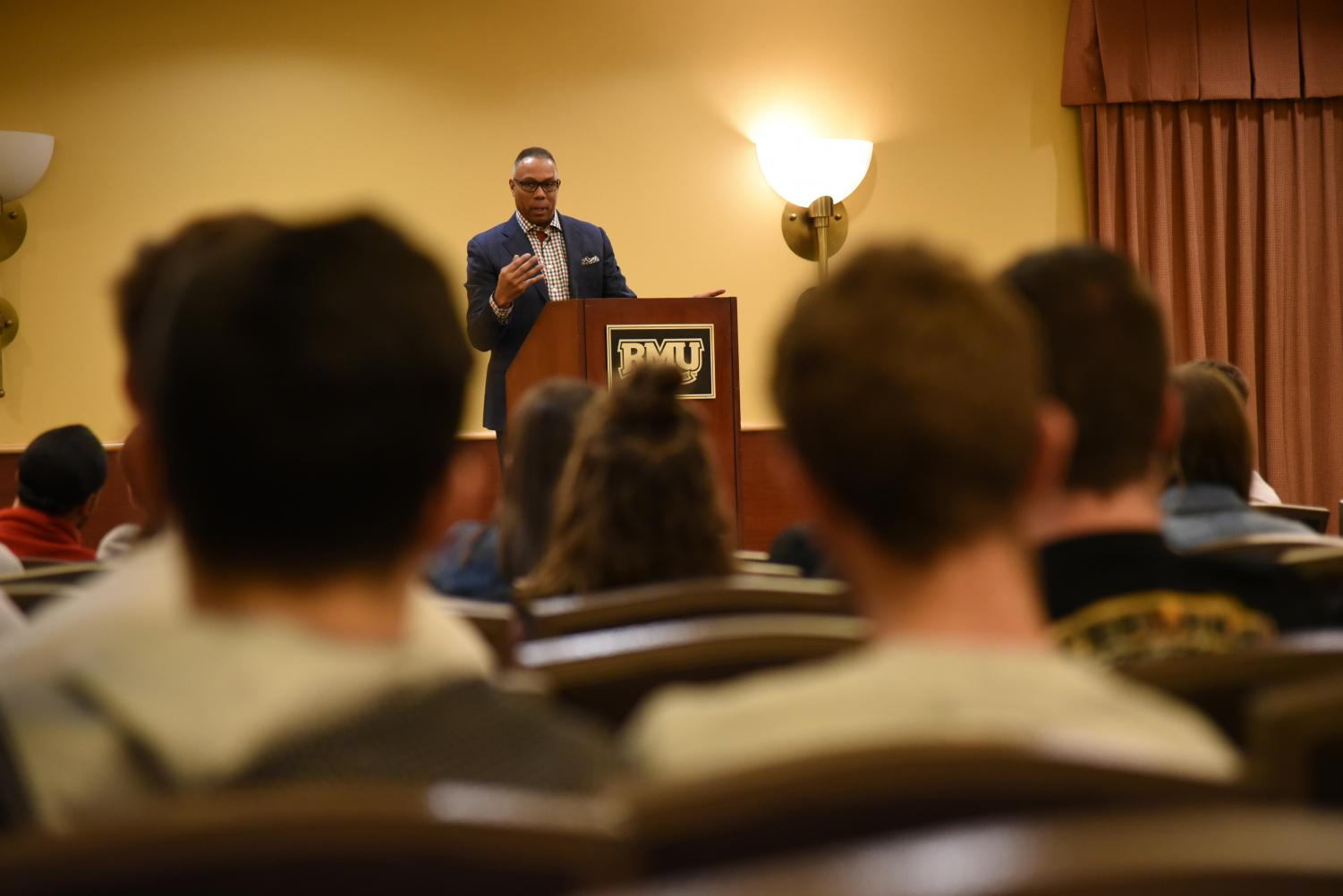 ESPN's Jay Harris speaks at a Greek Life event hosted by Robert Morris University in Yorktown Hall on March 19, 2019. Photo Credit: (RMU Sentry Media/Melanie Hulse)