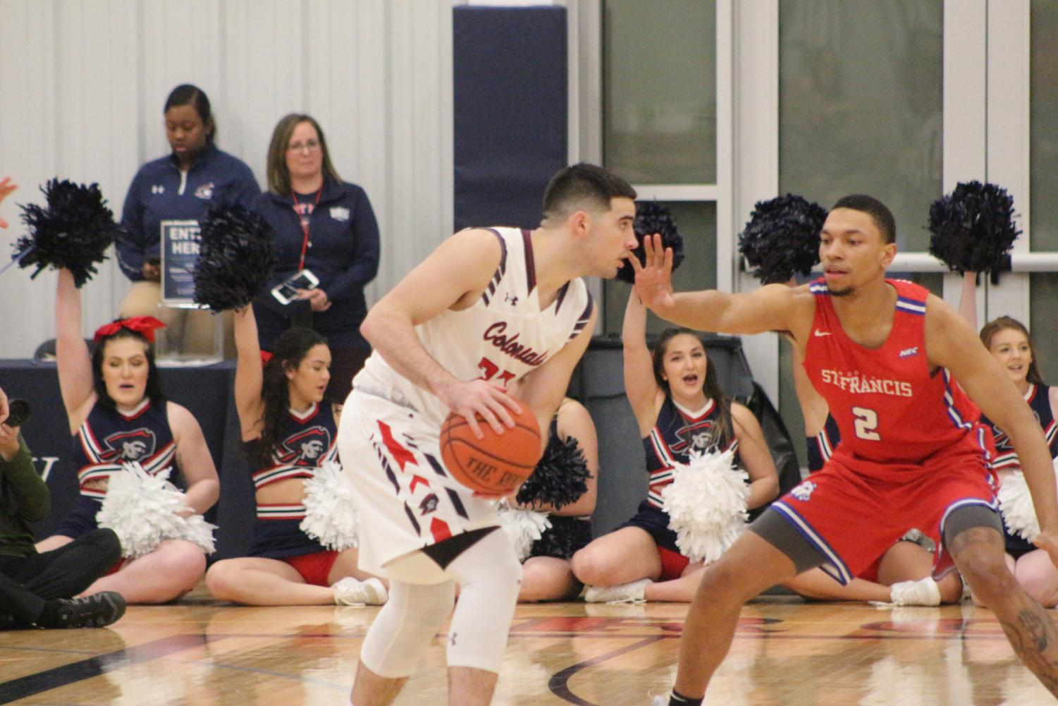 MOON TOWNSHIP -- Matty McConnell set's up against Saint Francis Brooklyn on February 23, 2019 (Avin Patel/RMU Sentry Media).