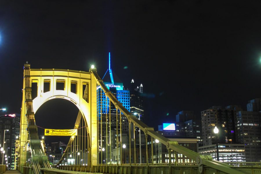 The Highmark Building in Downtown Pittsburgh peaks out from behind the Roberto Clemente Bridge. Photo Date: March 29, 2019 Photo Credit: (RMU Sentry Media/Gage Goulding)