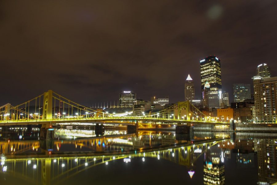 Bridges and buildings in Downtown Pittsburgh reflect off the city's mirror-like rivers on an early spring morning. Photo Date: March 29, 2019 Photo Credit: (RMU Sentry Media/Gage Goulding)
