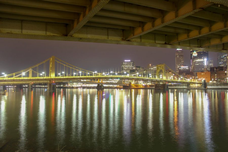 The Andy Warhol Bridge as seen from under the Roberto Clemente Bridge, connecting Downtown Pittsburgh to the North Shore. Photo Date: March 29, 2019. Photo Credit: (RMU Sentry Media/Gage Goulding)