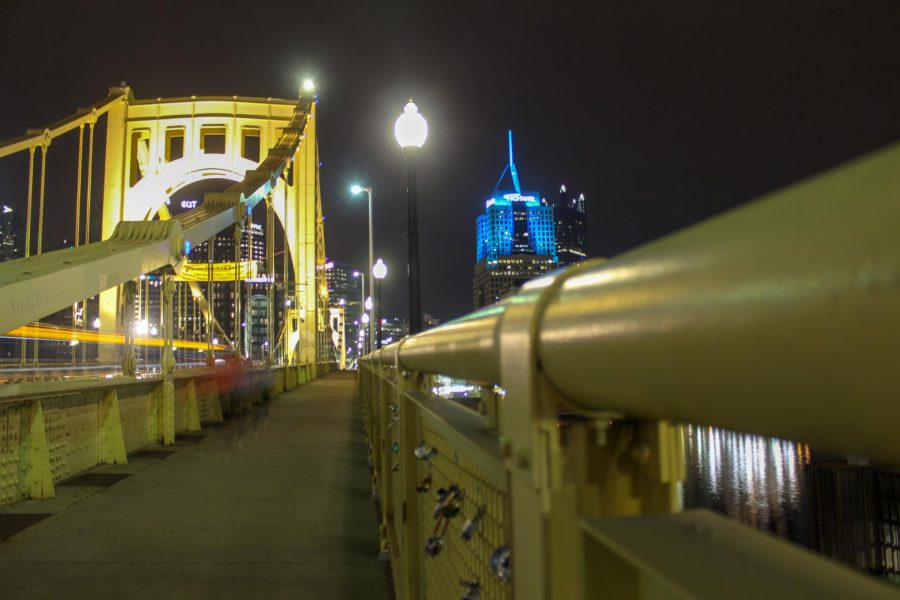 The Roberto Clemente Bridge spans the Allegheny River, connecting Downtown Pittsburgh to the North Shore. Photo Date: March 29, 2019. Photo Credit: (RMU Sentry Media/Gage Goulding)