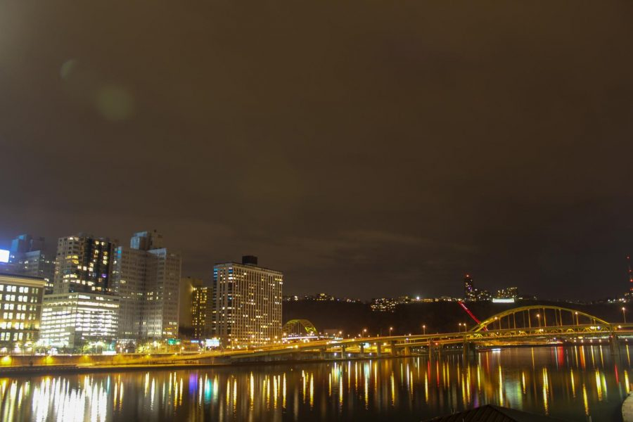 A view of the Downtown Pittsburgh point where the three rivers meet. Photo Date: March 29, 2019. Photo Credit: (RMU Sentry Media/Gage Goulding)