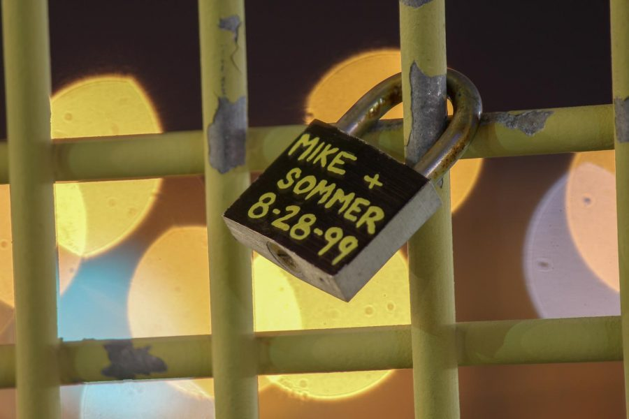 A lock is placed on the Roberto Clemente Bridge in Downtown Pittsburgh. Photo Date: March 29, 2019. Photo Credit: (RMU Sentry Media/Gage Goulding)