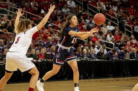 Natalie Villaflor sends over the pass during her career day in the first round of the NCAA tournament. Louisville, KY March 22, 2019. (Samuel Anthony/RMU Sentry Media)