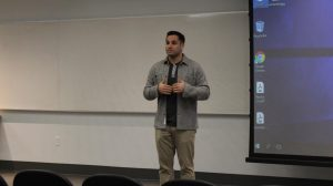 MOON TOWNSHIP -- Joey DelSardo talks to students at Robert Morris (Tyler Gallo/RMU Sentry Media).