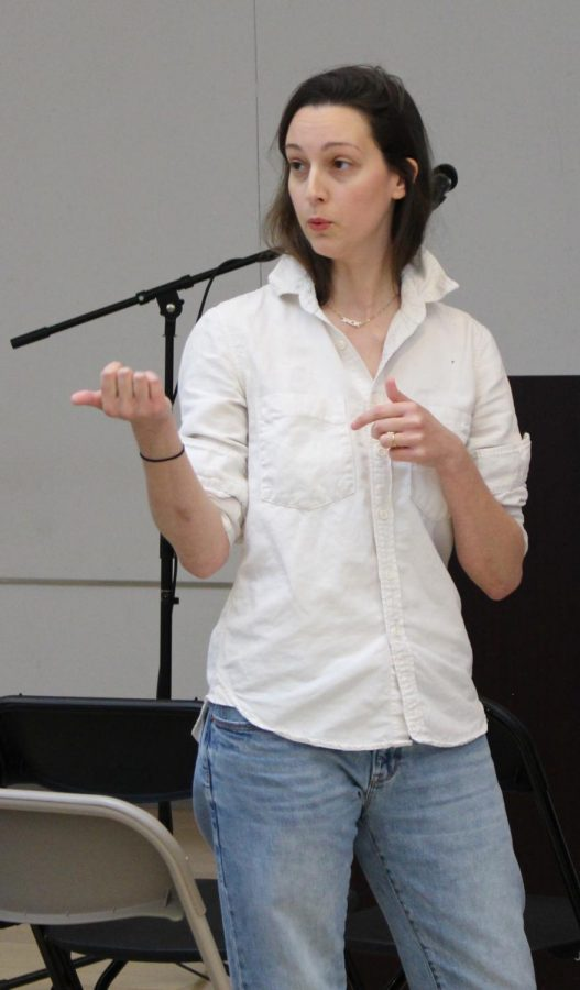 Emily Thomas speaks at Wheatley on April 18, 2019.