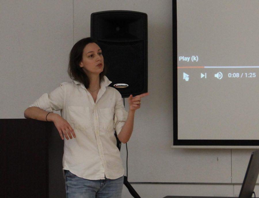 Emily Thomas speaks at Wheatley on April 18, 2019.