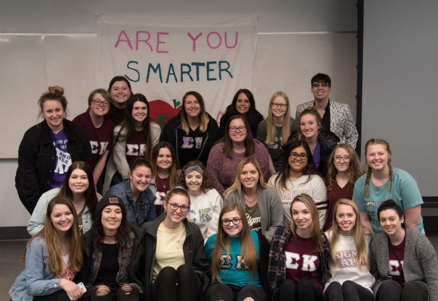 "Sigma Kappa hosted ""Are you Smarter than a College Student?"" in Hopwood Hall on April 2, 2019."