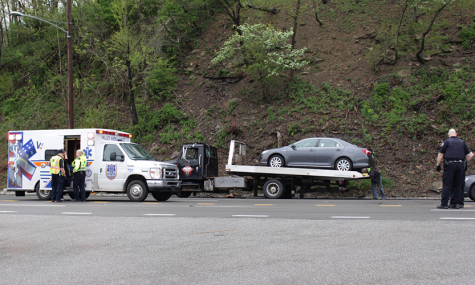 Authorities respond to a multi-vehicle accident on University Boulevard on April 26, 2019.  Photo Credit: (RMU Sentry Media/ John Blinn)