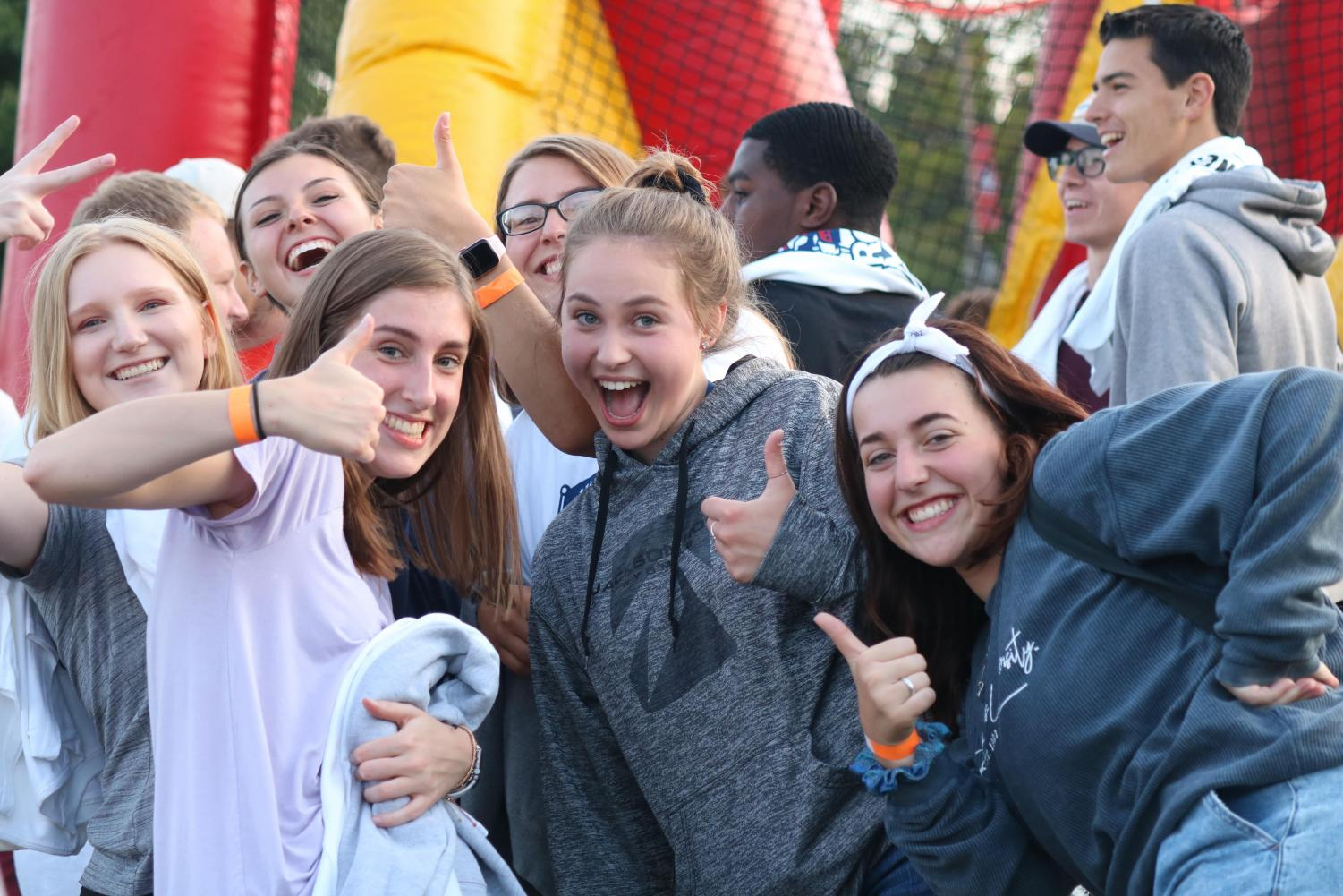 A group of Robert Morris University students enjoy the activities at the annual Bobby Mania this year.