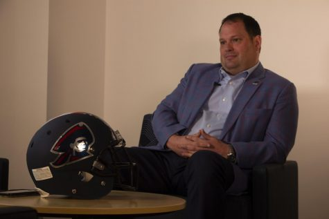 Chris King sits down with RMU Sentry Media to discuss his plans for the athletic department (Luke Yost/RMU Sentry Media). Photo credit: Luke Yost
