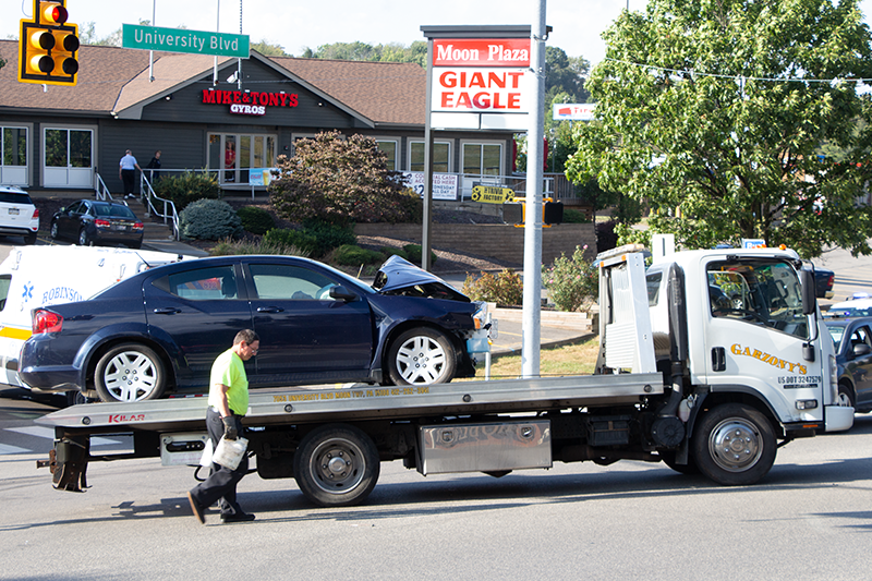 Authorities respond to a multi-vehicle accident on University Boulevard on September 23, 2019. Photo Credit: (RMU Sentry Media/ John Blinn)