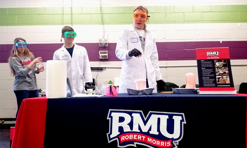 Several Robert Morris University students volunteer for No School STEM Day.   Photo Credit: (Sarah Moore)