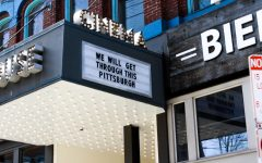 Row House Cinemas viral sign, telling the city that