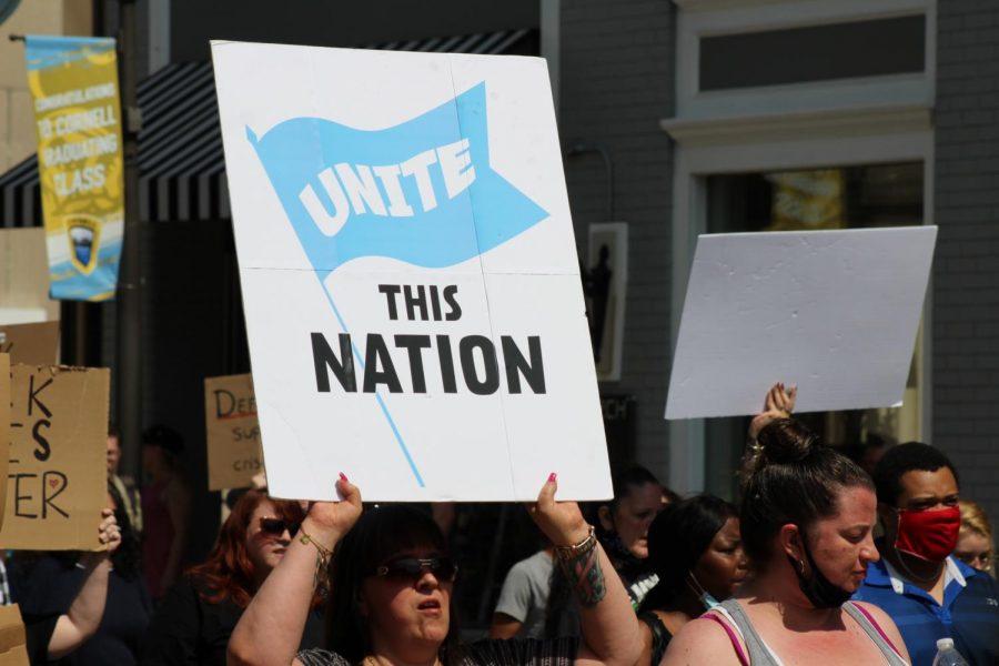 A sign calls for unity across the nation. Coraopolis, PA. June 6, 2020. RMU Sentry Media/Garret Roberts