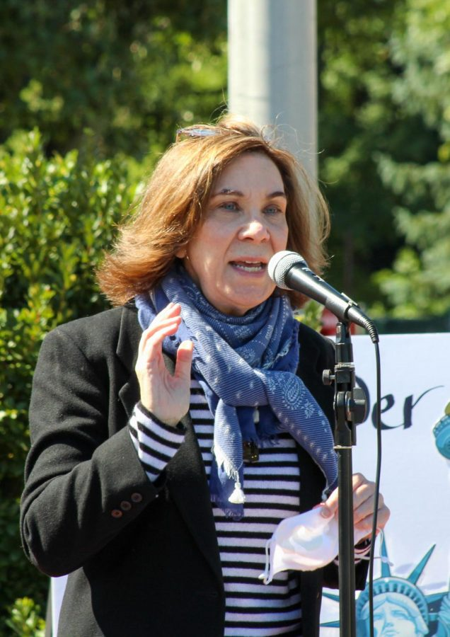 Senator Pam Iovino spoke at the rally, rallying voters to vote for Biden during the election.