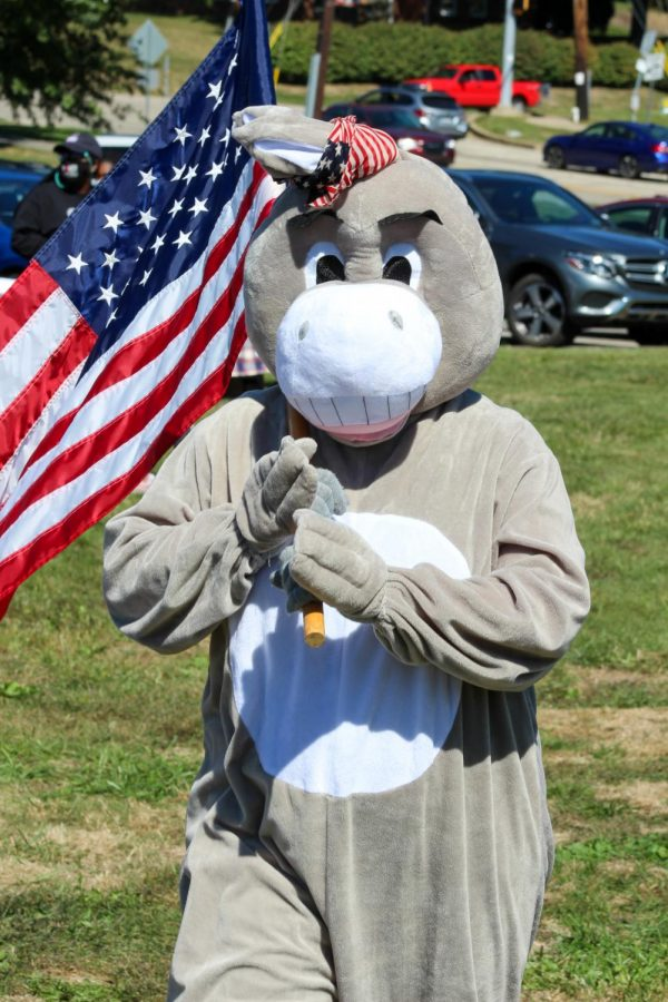 Jennet, the Democratic Donkey, made a stop at the rally as well.