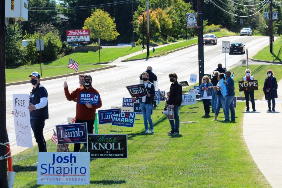 Supporters for the Biden Harris campaign gathered outside the Moon Township Municipal building on September 19, 2020. The rally was attended by lawmakers and Democratic party supporters.