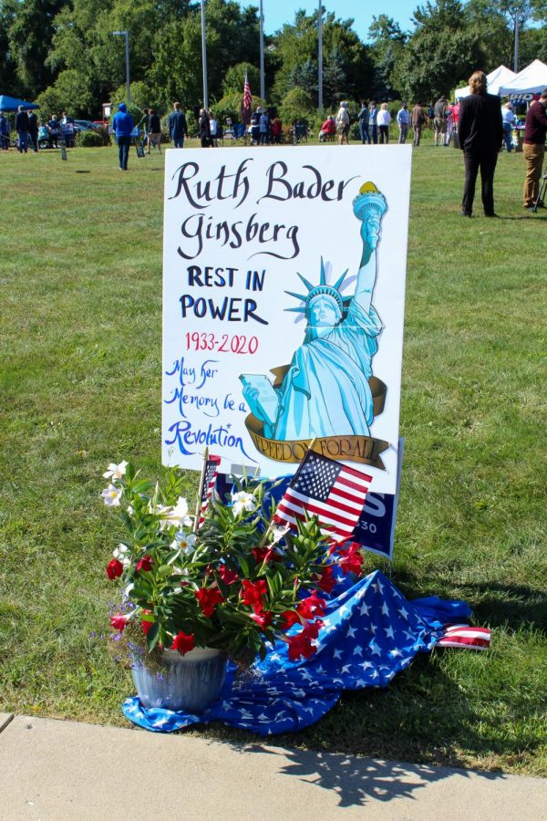 A memorial for Justice Ruth Bader Ginsberg, who had passed away the night before the rally.