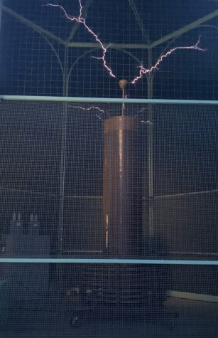 The Tesla coil produces one million volts of electricity. Credit: Kaelei Whitlatch