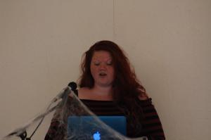 A speaker tells of her topic at the Creepy Conference.