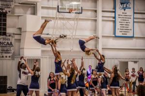 RMU's cheerleader show off there aerial routine.