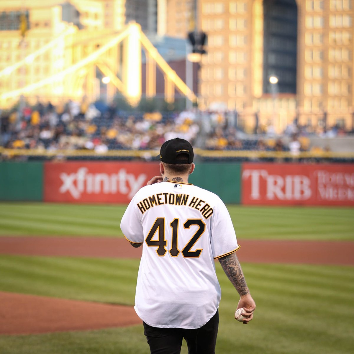 Mac Miller at a Pittsburgh Pirates baseball game at PNC Park.